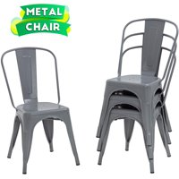 Dining Chairs Set Of 4 Indoor Outdoor Chairs Patio Chairs Furniture Kitchen Metal Chairs 18 Inch Seat Height 330LBS Weight Capacity Restaurant Chair Stackable Chair Tolix Side Bar Chairs
