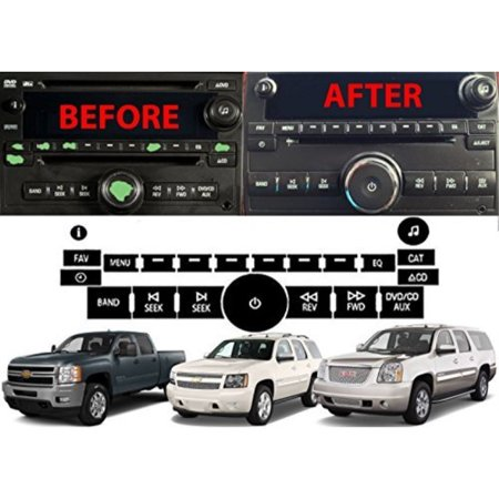 Radio Repair Kit Dash Replacement For 2007-2013 GM Head Unit Radio Vehicles  Decal Stickers For Tahoe, Yukon, Denali, Silverado, Suburban, Avalanche,