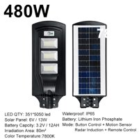 160W/320/480W 7800K LED Solar Street Light  Sensor Outdoor Garden Wall Lamp + Remote