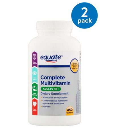 Adult Multi Vitamin - (2 Pack) Equate Adults 50+ Complete Multivitamin/Multimineral Supplement Tablets, 450 Ct