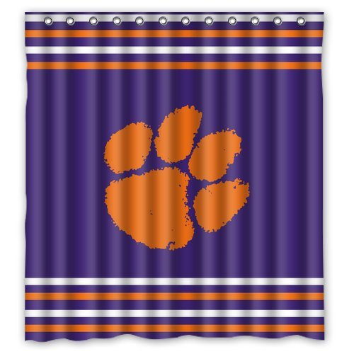 High Quality DEYOU Clemson Tigers Shower Curtain Polyester Fabric Bathroom Shower Curtain  Size 66x72 Inches