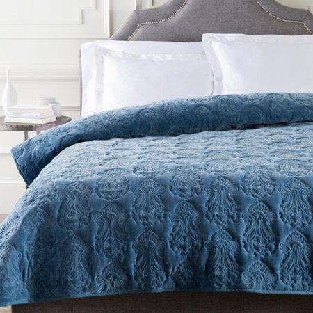 Denim Blue Infinite Indian Floral Paradise Patterned Cotton Twin Quilt