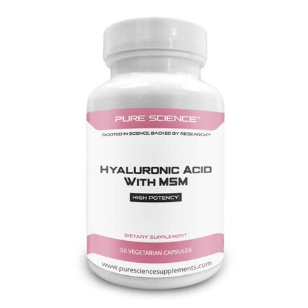 Pure Science Hyaluronic Acid and MSM 520mg - Hyaluronic Acid Supplements for Joint & Muscle Health, Skin Elasticity and Eye Health - 50 Vegetarian (Best Vitamins For Aching Joints And Muscles)