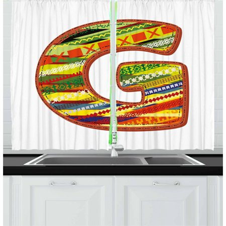 Letter G Curtains 2 Panels Set, G Letter Character Language System Learning College Surname Red Calligraphy Design, Window Drapes for Living Room Bedroom, 55W X 39L Inches, Multicolor, by