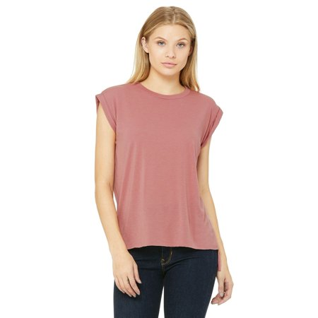 6dd9bee1fe19d Bella + Canvas - Women s Flowy Muscle Tee with Rolled Cuffs - 8804