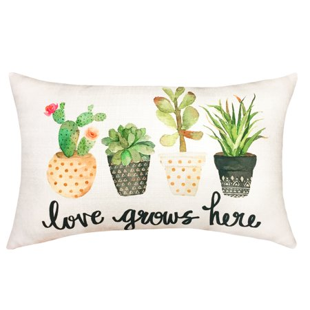 Mainstays Love Grows Here Oblong Decrative Throw Pillow, (Love Grows Best In Little Houses Pillow)