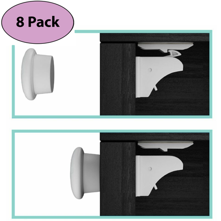 EliteBaby Baby Proofing Magnetic Cabinet Locks, Set of 8 Locks and 2 Keys - Child Safety Locks for Cupboards & Drawers, No Tools or Drilling