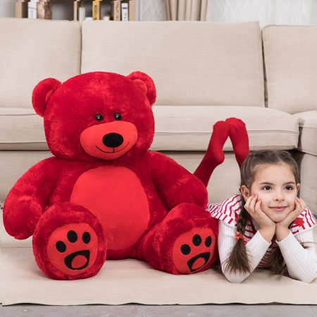 WOWMAX 3 Foot Giant Teddy Bear Daney Cuddly Stuffed Plush Animals Teddy Bear Toy Doll for Birthday Christmas Red 36