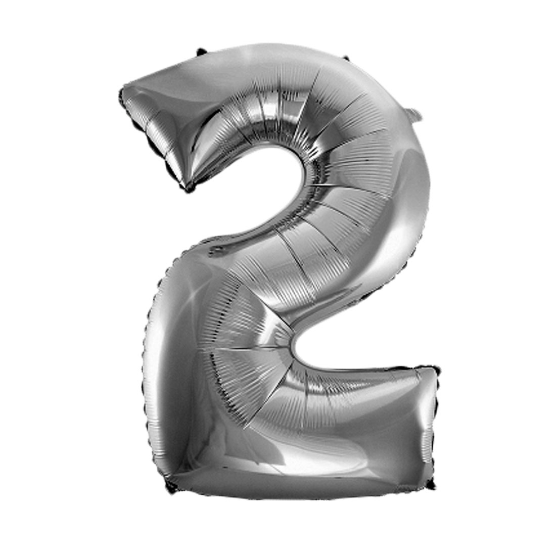 Unique Bargains Foil Number 2 Shape Helium Balloon Birthday Wedding Decor Silver Tone 30""