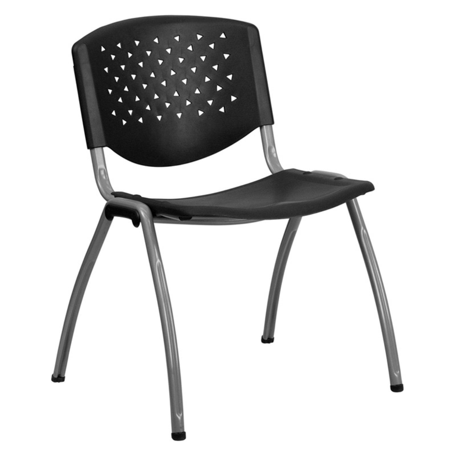 Flash Furniture HERCULES Series 880 lb. Capacity Black Plastic Stack Chair with Titanium Frame