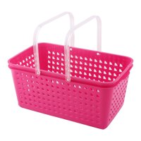 Unique Bargains Household Plastic Stationery Makeup Cosmetic Storage Organizer Basket Fuchsia