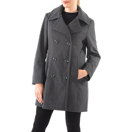 Petite Spandex Peacoat - Alpine Swiss Norah Womens Wool Coat Double Breasted Peacoat Jacket Overcoat