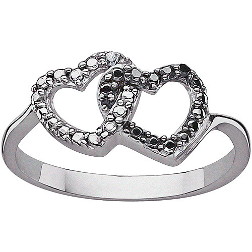 Black and White Round Diamond Accent Sterling Silver Interlocking Hearts Ring