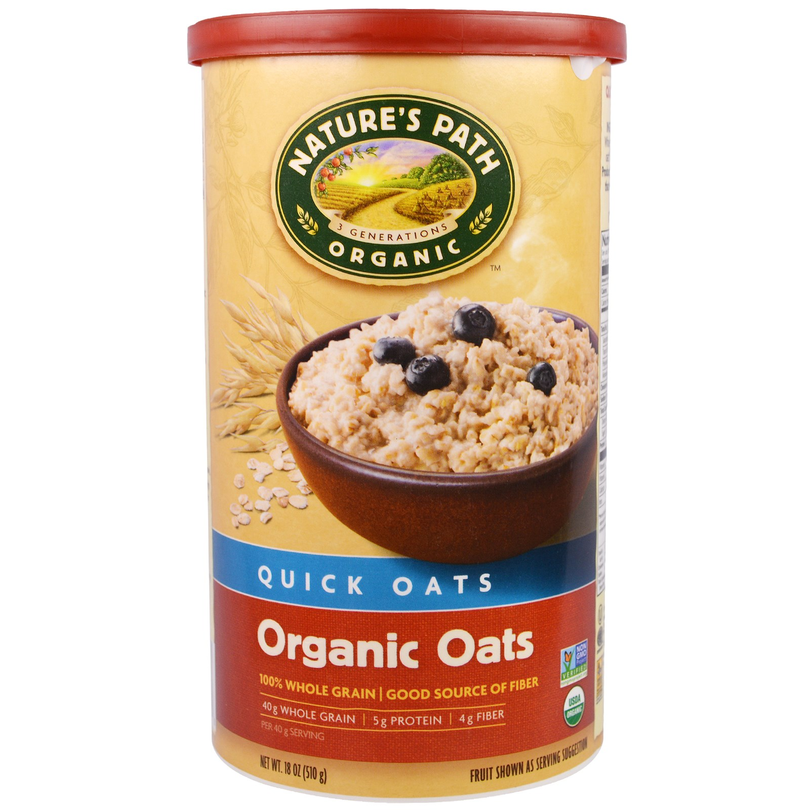 Country Choice Organic, Natures's Path, Organic, Quick Oats, 18 oz(pack of 6)