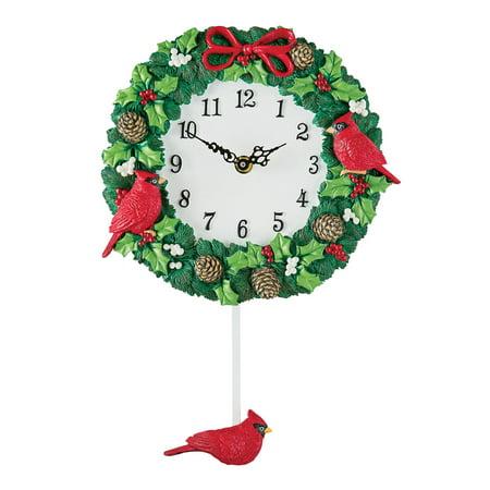Hand Painted Cardinal Wreath Christmas Wall Clock with Pendulum, Artistic Indoor Home Holiday - Christmas Clock