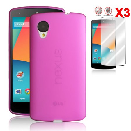 LivEditor Hot Pink Skin TPU Case Cover Ultra-Tin +3pcs Anti-Glare Screen Protector - image 7 de 7