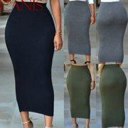 Women Casual High Waist Skirt Long Bodycon Stretchy Maxi Skirt Pencil Skirts Hot