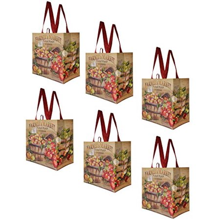 Earthwise Reusable Grocery Bags Shopping - Totes (Pack of 6) (FarmersMarket)