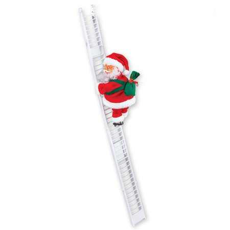 Singing Santa Climbing Ladder with Bag of Presents, Indoor Christmas Decoration - Sings Jingle Bells