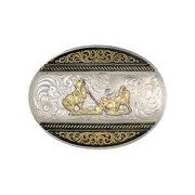 Montana Silversmiths Belt Buckle Mens Team Roper Silver Gold 6140-857