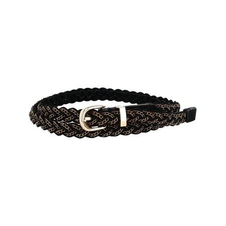 Suede Designer Belt (Women's Suede with Chain Braided Belt )