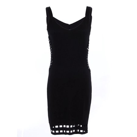 S/M Fit Black Square Net Panel Trim Hem and Side Cut Outs Midi Dress Side Panel Dress