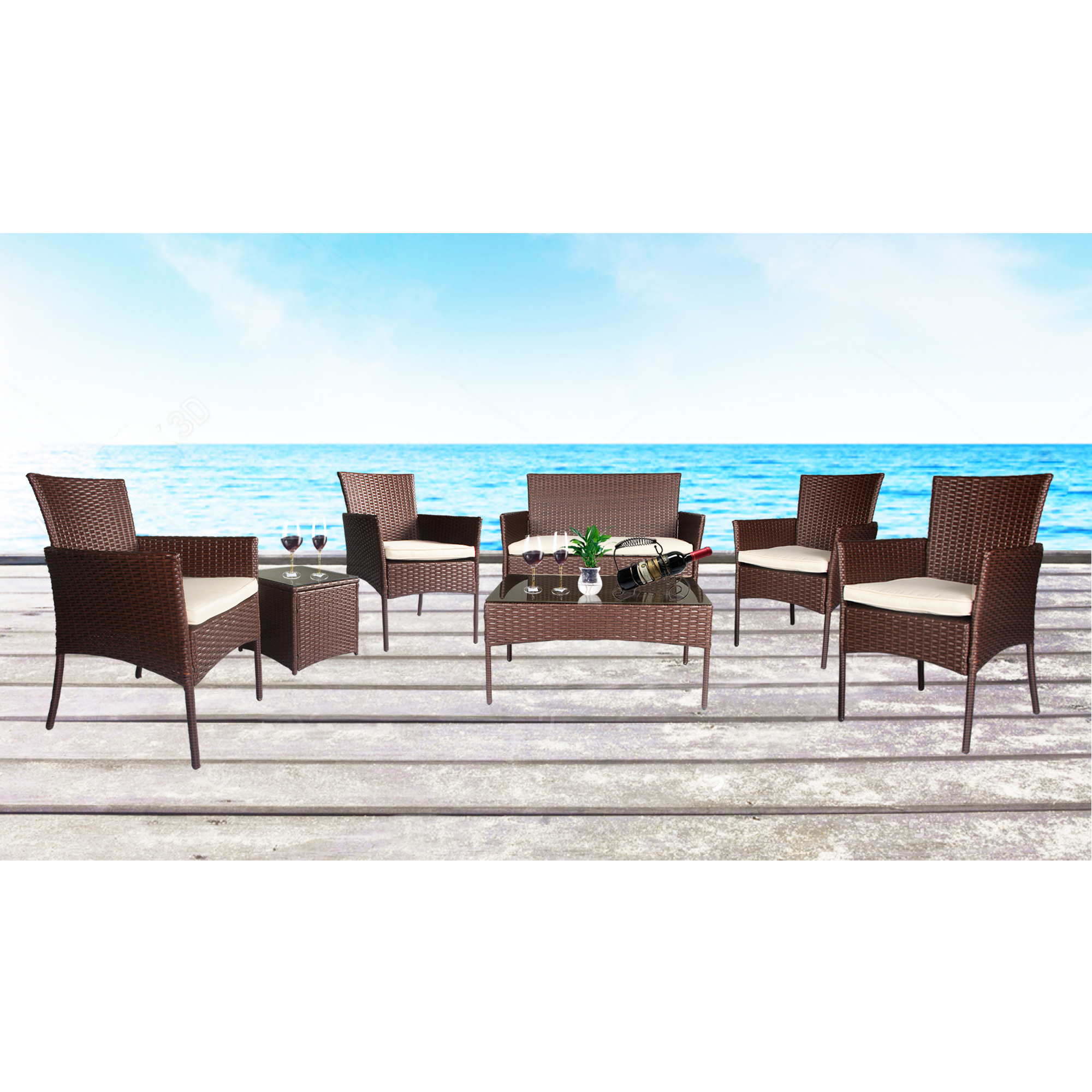 Cloud Mountain Outdoor 7 PC Conversation Set Wicker Bistro Conversation Set Wicker Sectional Furniture, Cocoa Brown Rattan with Creamy White Cushions