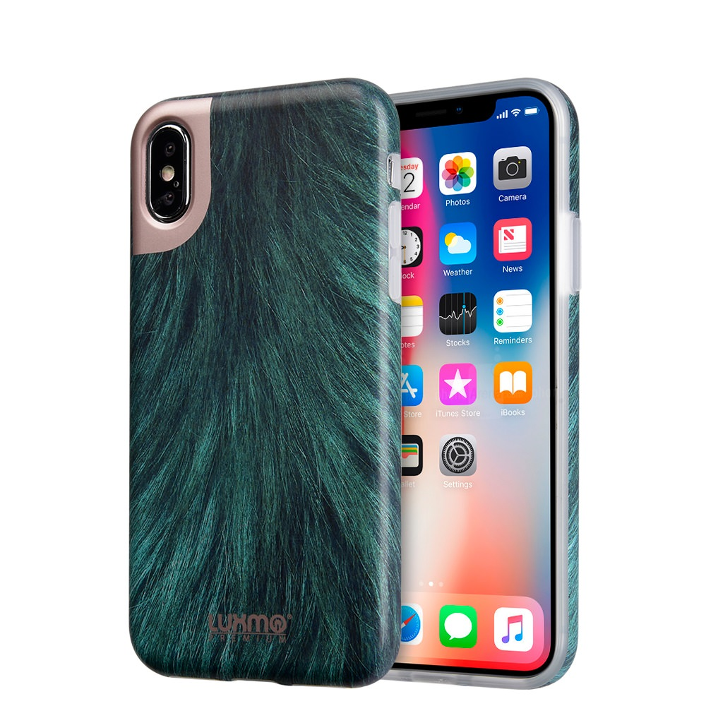 MUNDAZE Green Printed Fur Design Case For Apple iPhone X Phone