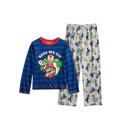 Nintendo Boys' Super Mario Plush Fleece Robe and Pajamas, Blue Pajama, Size: Large / 10-12](Tween Pajamas)