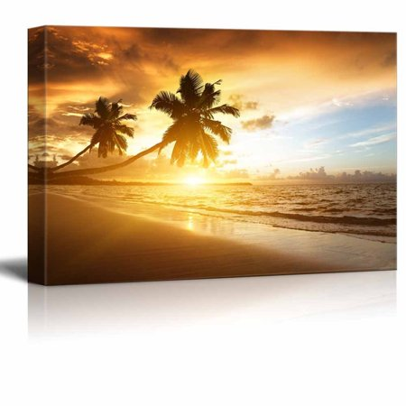 wall26 - Sunset on The Beach of Caribbean Sea - Canvas Art Wall Decor - 32