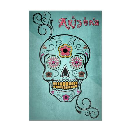 Phoenix, Arizona - Day of the Dead - Sugar Skull & Flower - Aqua - Lantern Press Artwork (8x12 Acrylic Wall