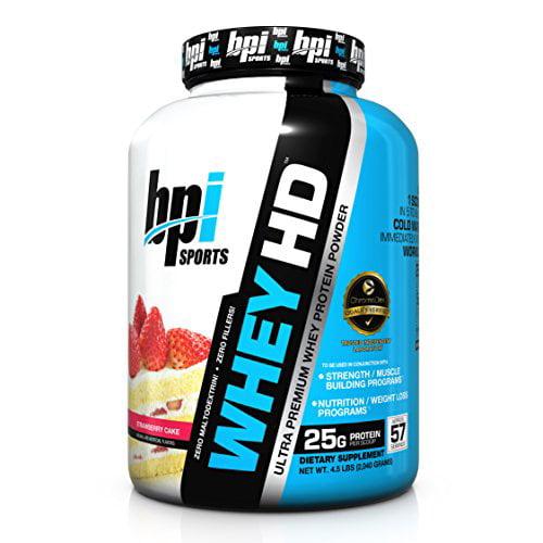 BPI Sports Whey-HD Ultra Premium Whey Protein Powder, Strawberry Cake, 4.5 Pound