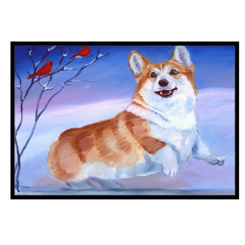 Corgi Snow Cardinal Doormat by Caroline's Treasures