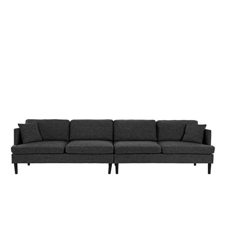 Mid Century Extra Large Linen Fabric Sofa, Living Room Couch (Ash Grey)