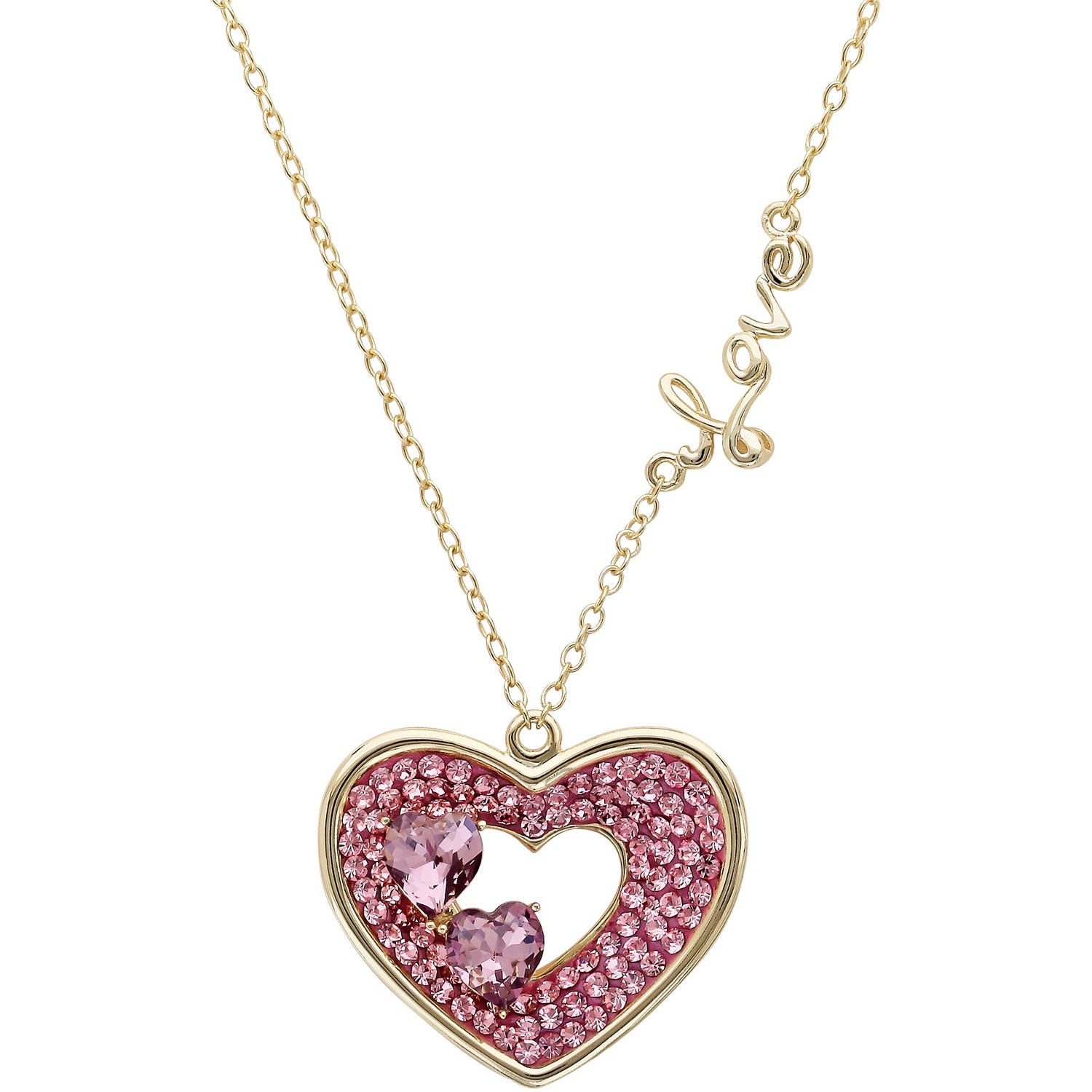 Luminesse Light Rose Amethyst Swarovski Crystal 18kt Gold over Sterling Silver Open Heart with Love on the Side... by Richline Group Inc
