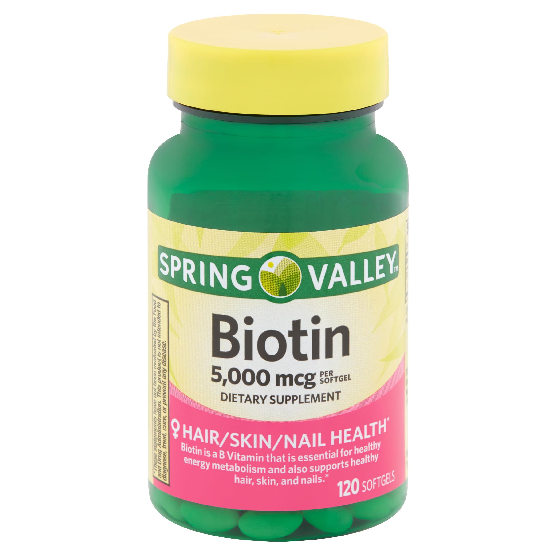 Walma Com: Spring Valley Biotin Softgels, 5,000 Mcg, 120 Count