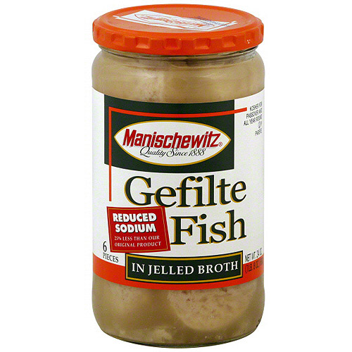 Manischewitz Reduced-Sodium Gefilte Fish in Jelled Broth, 24 oz (Pack of 6)