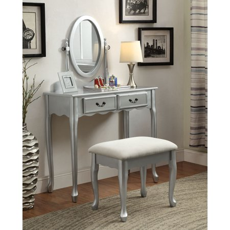 1PerfectChoice Adriana Bedroom Vanity Makeup Table Oval Mirror Drawers  Padded Bench Silver Wood