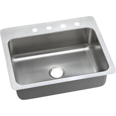Elkay DSESR127222 Dayton Elite Stainless Steel Single Bowl Dual-Mount Sink with 2 Faucet Holes, Elite Satin