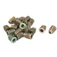 20 Pcs M6x15mm Zinc Plated Hex Socket Screw in Thread Insert Nut for Wood