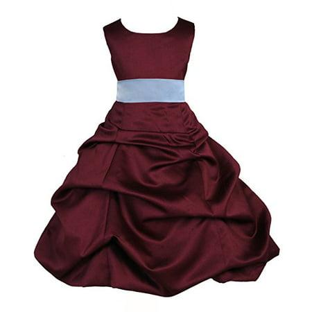 Ekidsbridal Burgundy Satin Pick-Up Bubble Flower Girl Dresses Formal ...