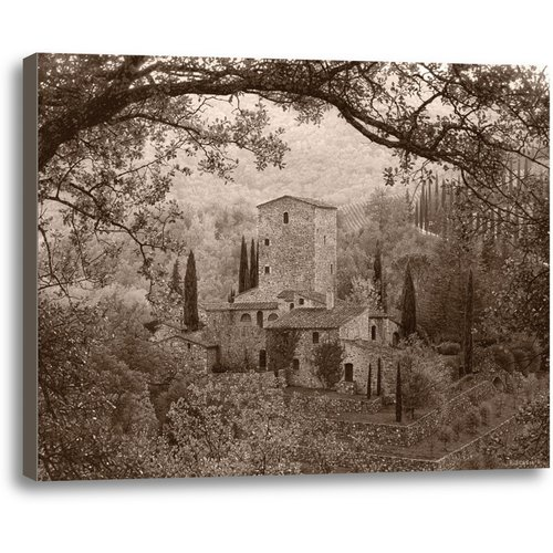 Ashton Wall D cor LLC Hills of Chianti by Rod Chase Photographic Print on Wrapped Canvas in Sepia