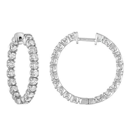 3 cttw Certified SI1-SI2 14K White Gold Diamond Inside Out Hoop Earrings (J-K)
