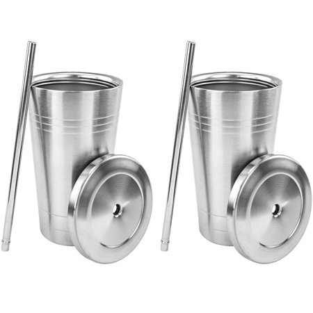 Stainless Steel Double Walled Insulated Cup With Straw and Lid, 2 Pack (Tumblers With Lids And Straws)