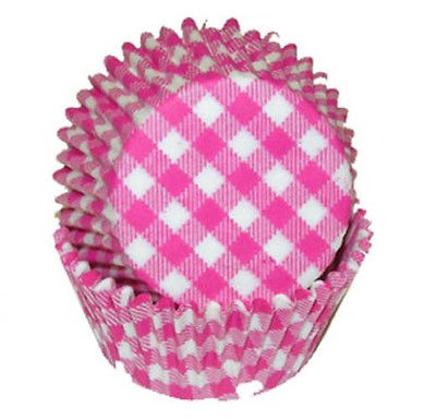 Pink Gingham Baking Cupcake Liners - 50 Count - National Cake Supply
