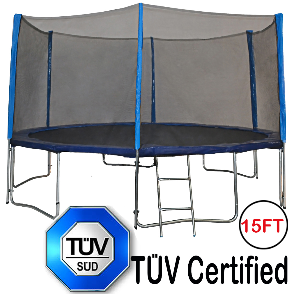 Zupapa 15FT TUV Certified Trampoline with Enclosure Padding Ladder and Spring toools