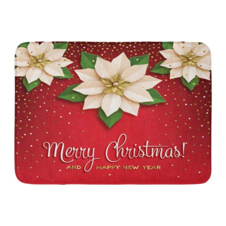 GODPOK Bethlehem Christmas Star with Poinsettia White with Gold Flower with Inscription on Red with Confetti Bow Rug Doormat Bath Mat 23.6x15.7 (Hog Heaven Confetti Mat)
