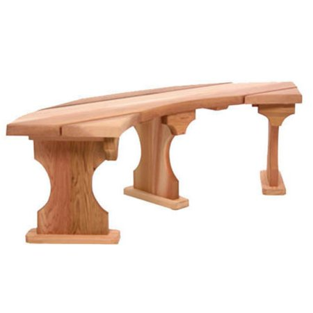 All Things Cedar Quarter Round Curved Backless Western Red Cedar Bench ()