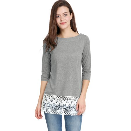 Women 3/4 Sleeves Round Neck Contrast Lace Hem Tunic Top