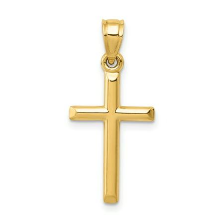 14k Yellow Gold Cross Religious Pendant Charm Necklace Latin 14k Gold Charm Car
